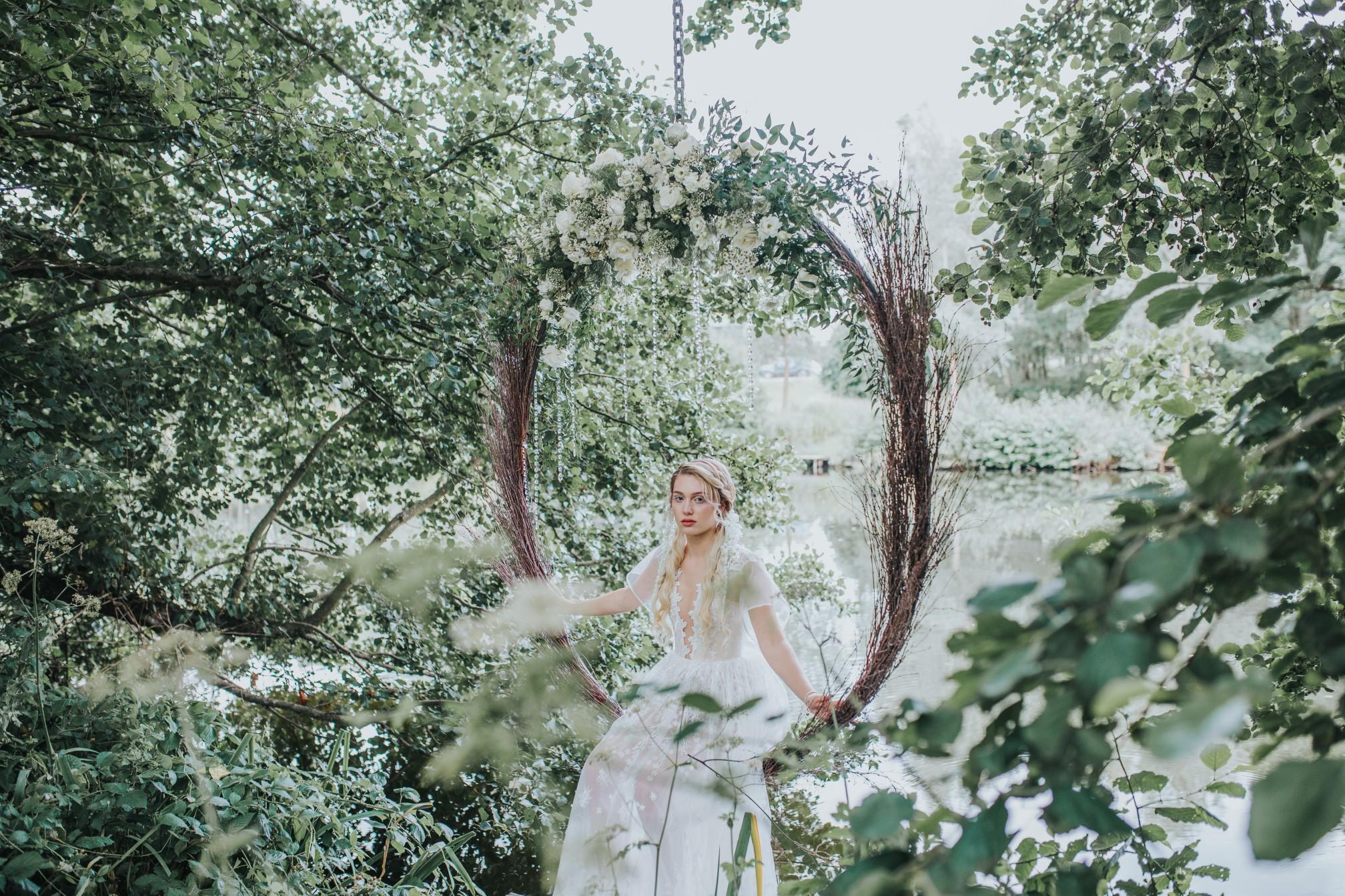 fairy wedding - whimsical wedding - magical wedding - elegant wedding dress - outdoor suspended hoop - wedding hoop