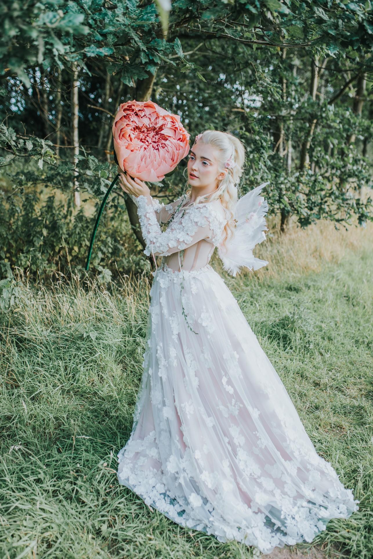 fairy wedding - whimsical wedding - magical wedding - elegant wedding dress - wedding paper flowers - unique bridal wear - unique wedding dress - woodland wedding