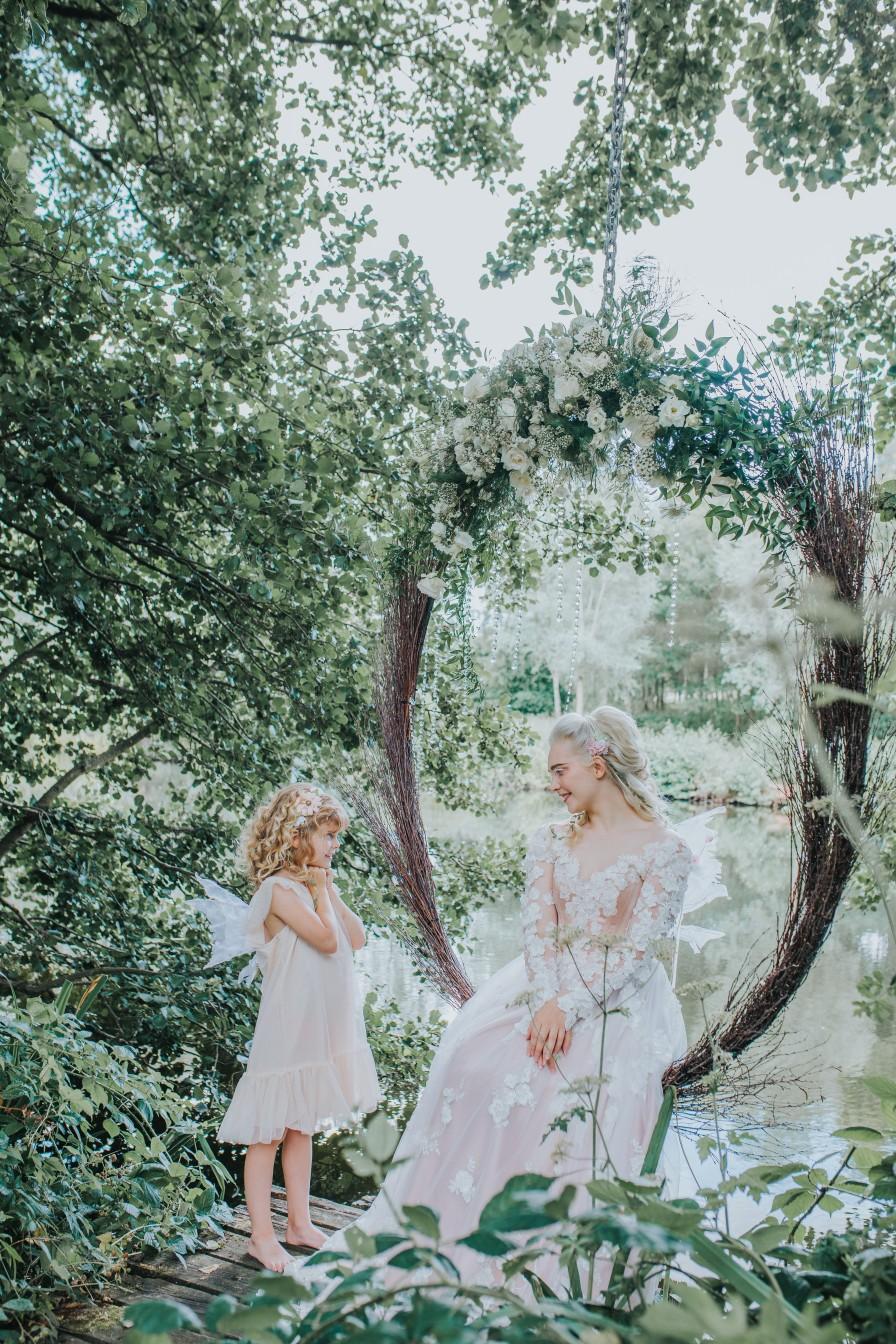 fairy wedding - whimsical wedding - magical wedding - elegant wedding dress - hoop wedding seat - woodland wedding inspiration