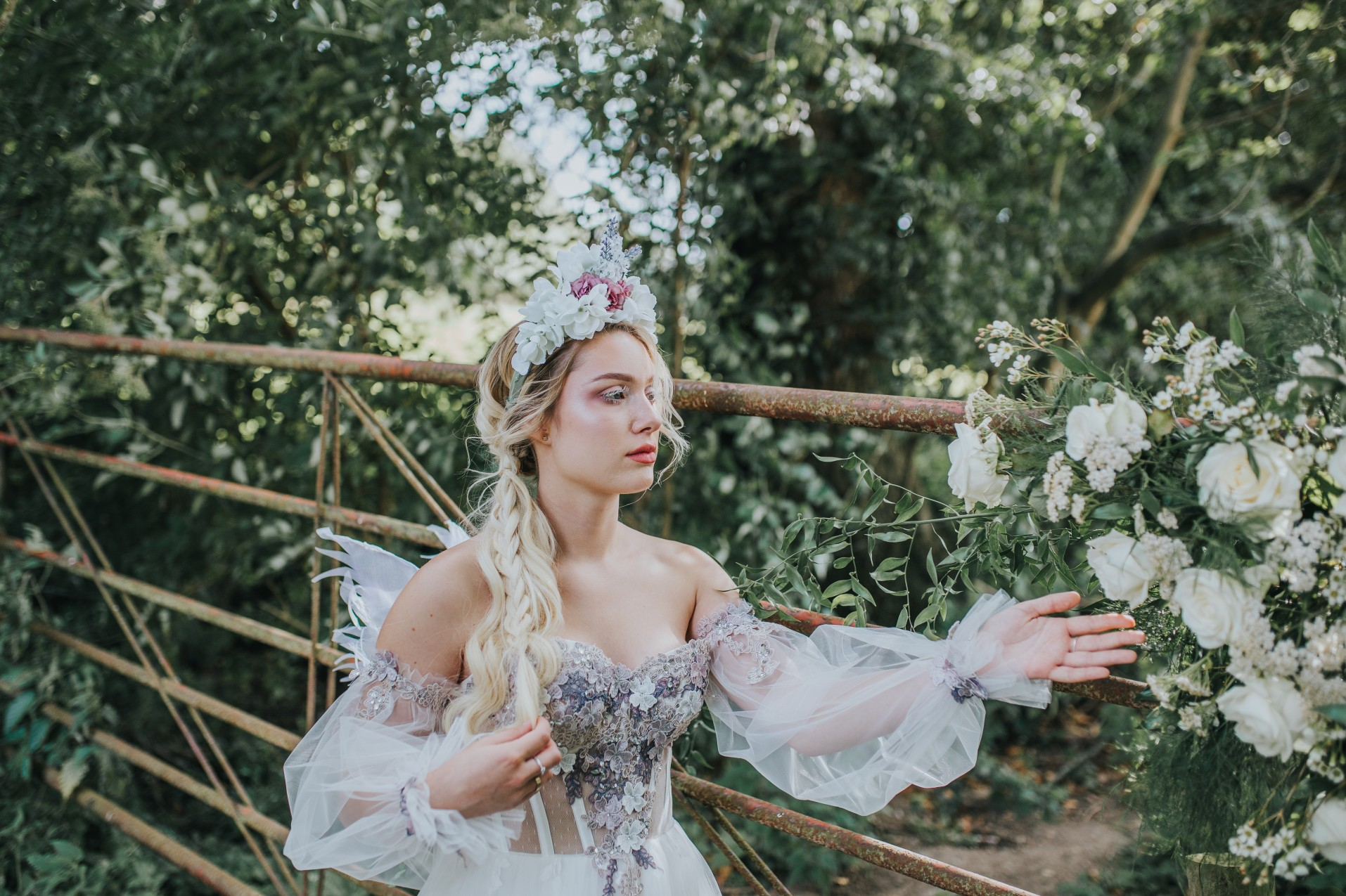 fairy wedding - whimsical wedding - magical wedding - elegant wedding dress - unique wedding headdress - unique fairytale wedding dress