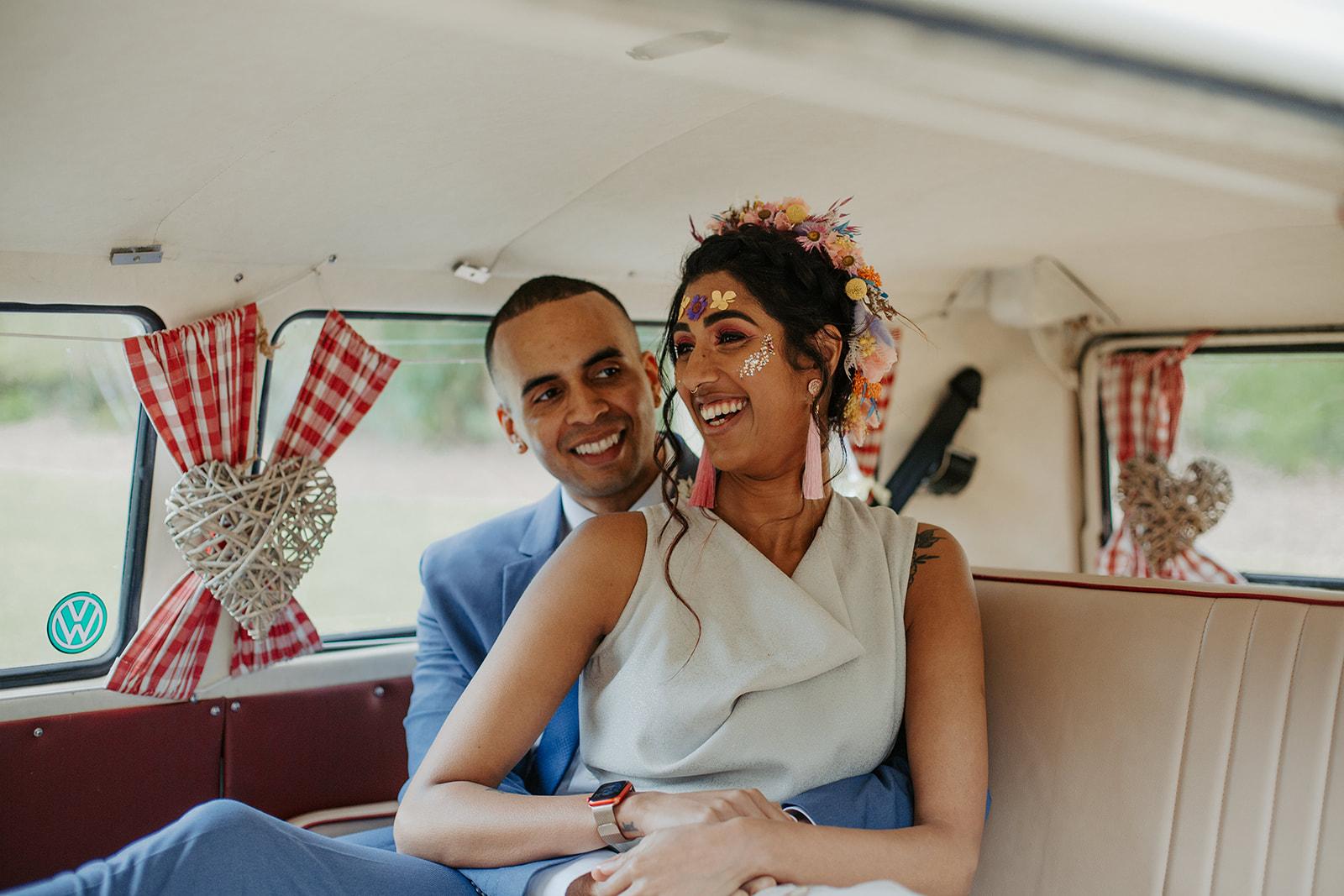 drive in wedding - camper van wedding - bride with festival makeup - festival bride - festival wedding ideas - bride and groom in camper van