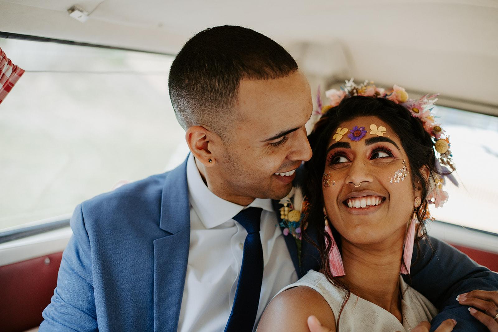 drive in wedding - camper van wedding - bride with festival makeup - festival bride - festival wedding ideas