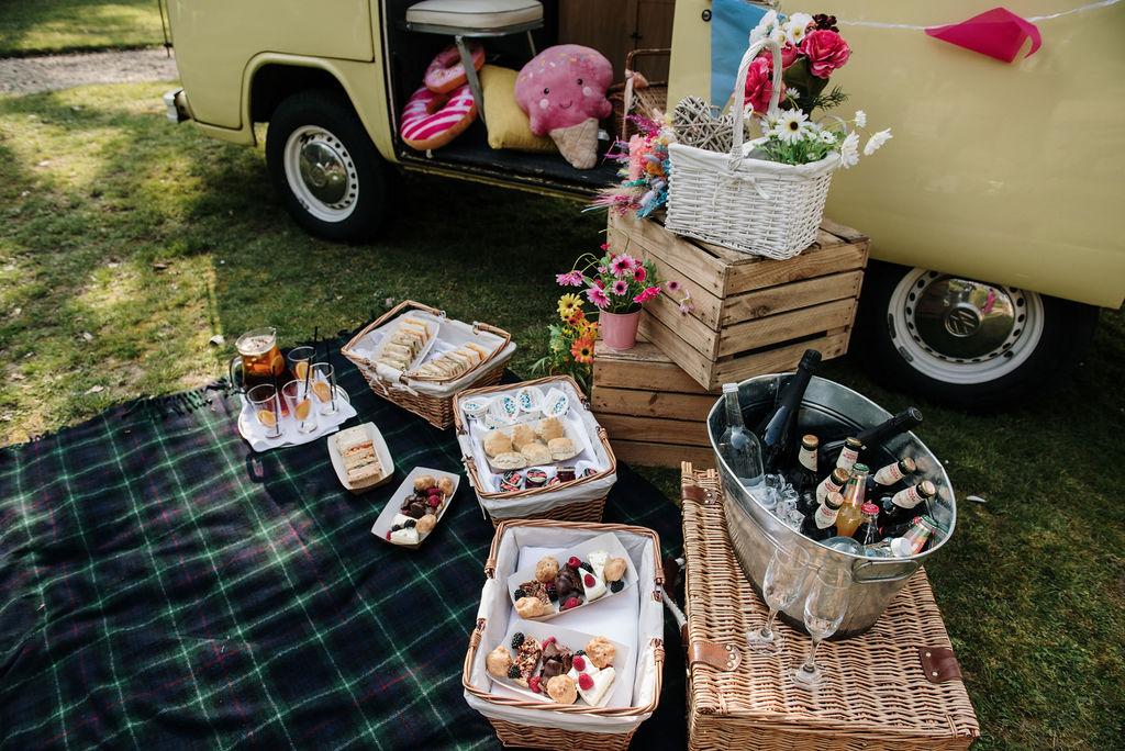 camper van wedding - drive in wedding - wedding picnic - wedding grazing table