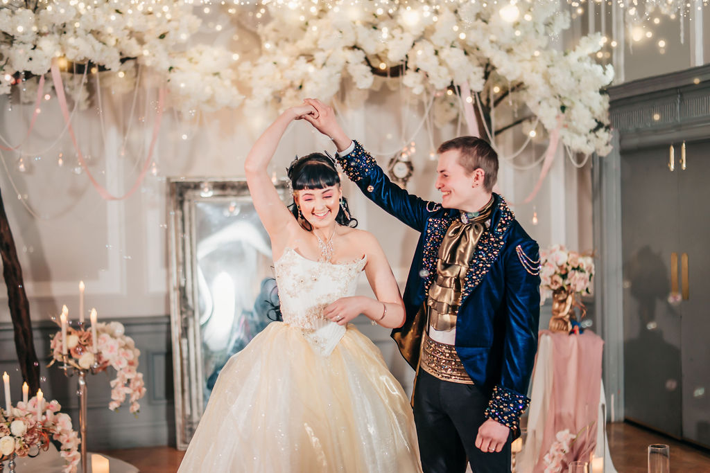 Couple dancing at their fairytale, labyrinth themed wedding day - labyrinth themed wedding by doodah photography - first dance