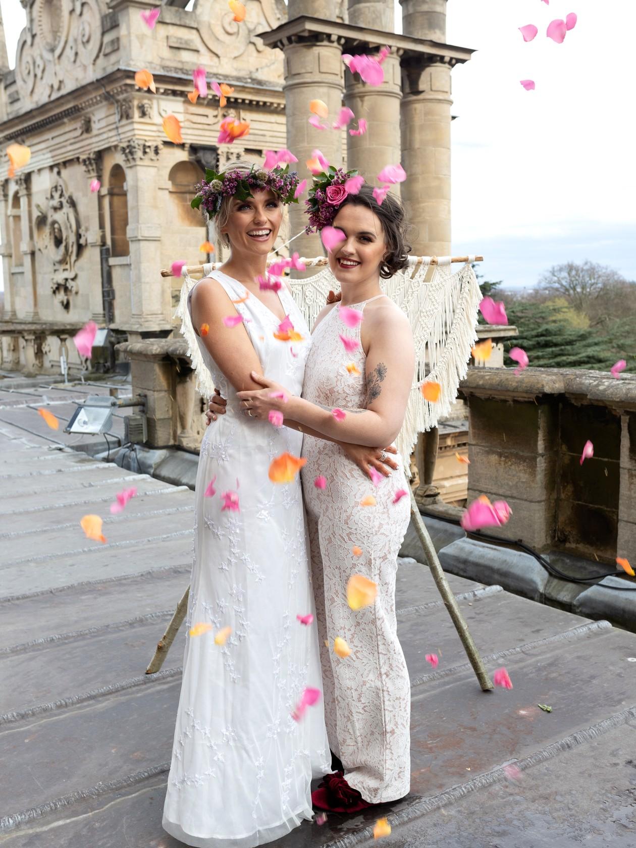 modern boho wedding, same sex wedding, lgbtq wedding, petal confetti, wedding confetti shot, unique boho wedding