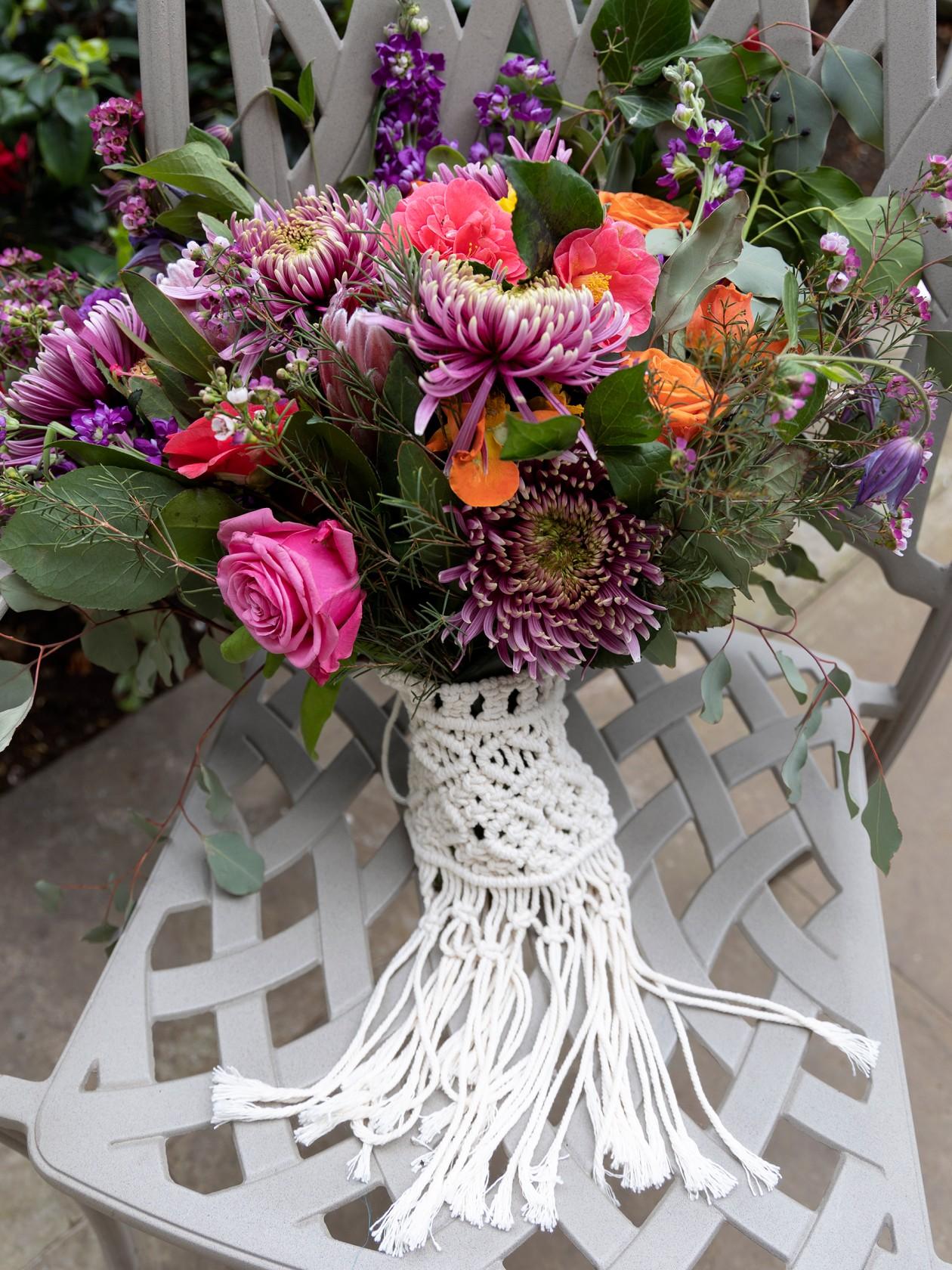 macrame bouquet holder, colourful wedding flowers, colourful wedding bouquet, rainbow wedding flowers, unique wedding flowers, boho wedding flowers