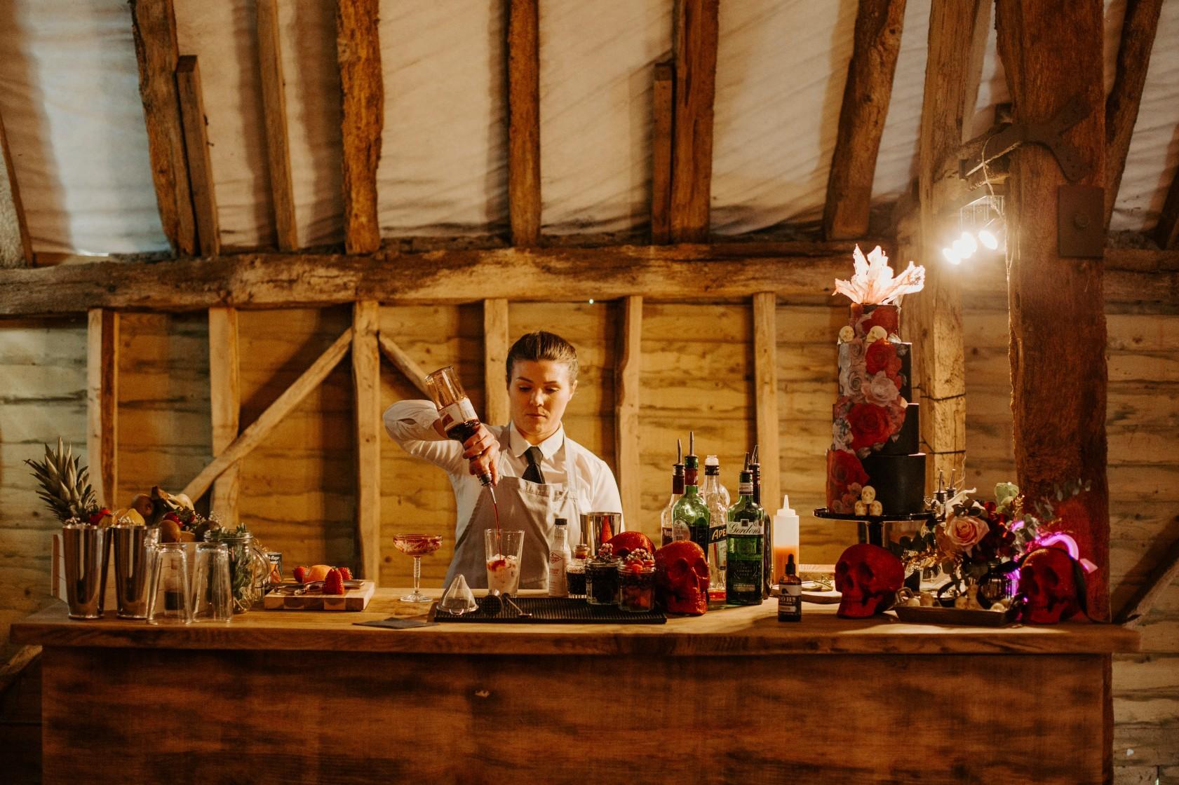 wedding cocktail bar - bespoke wedding cocktails - rock and roll wedding