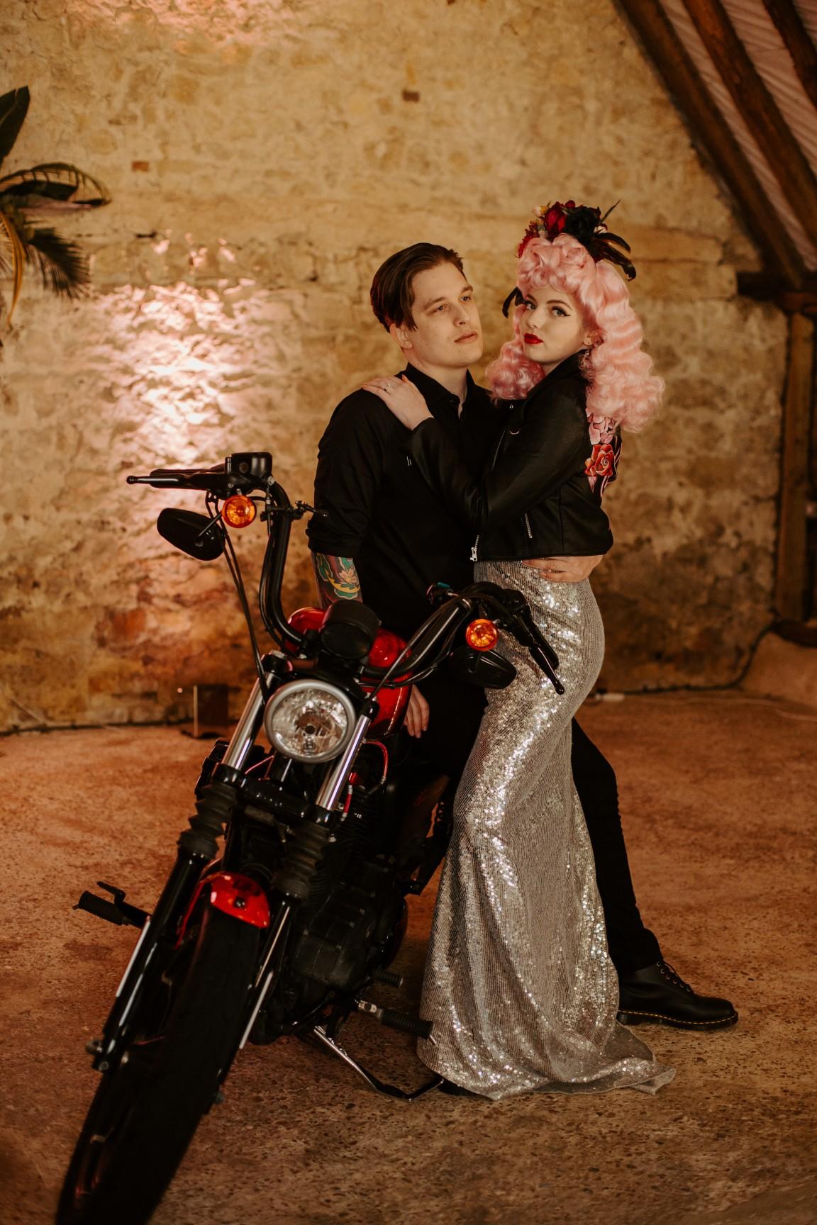 rock and roll wedding - edgy wedding inspiration - rock and roll bride - bridal leather jacket - harley davidson wedding