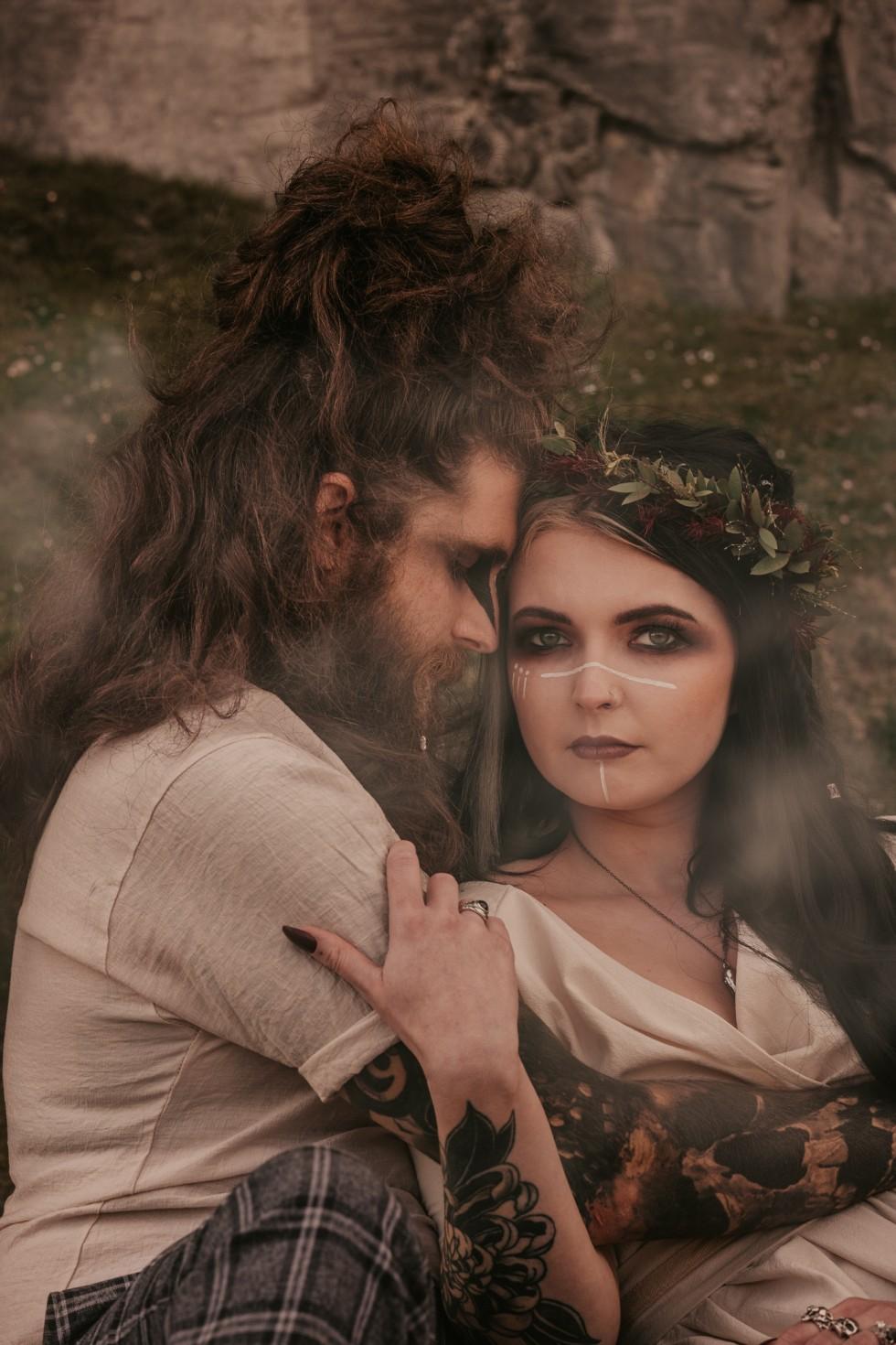 viking wedding - wild wedding - bridal flower crown - alternative wedding couple - outdoor elopement inspiration