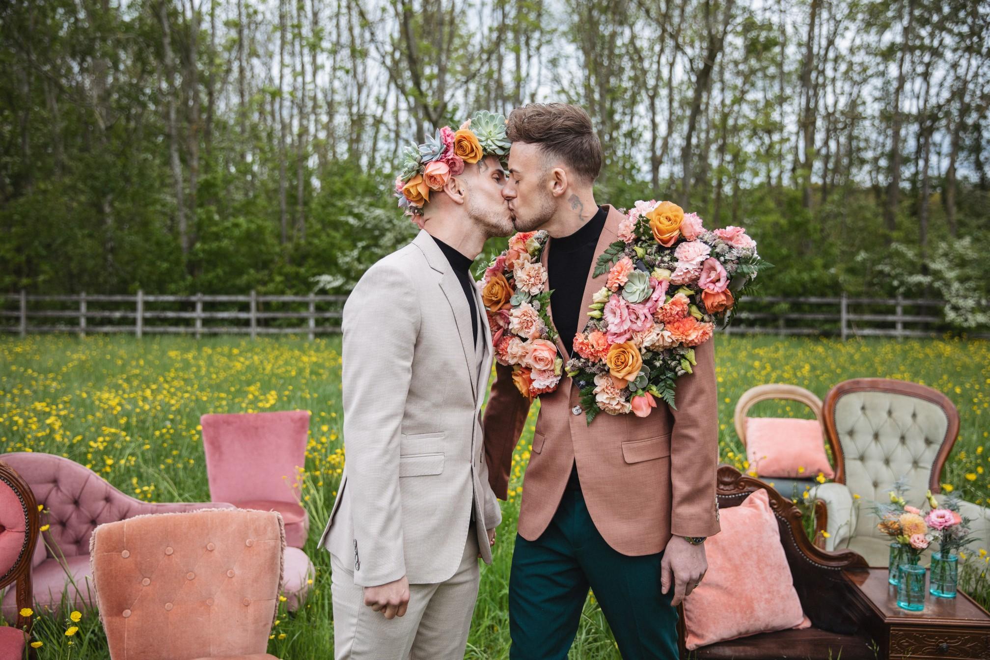 gay wedding inspiration - unique wedding flowers - vintage wedding props - unique grooms wear