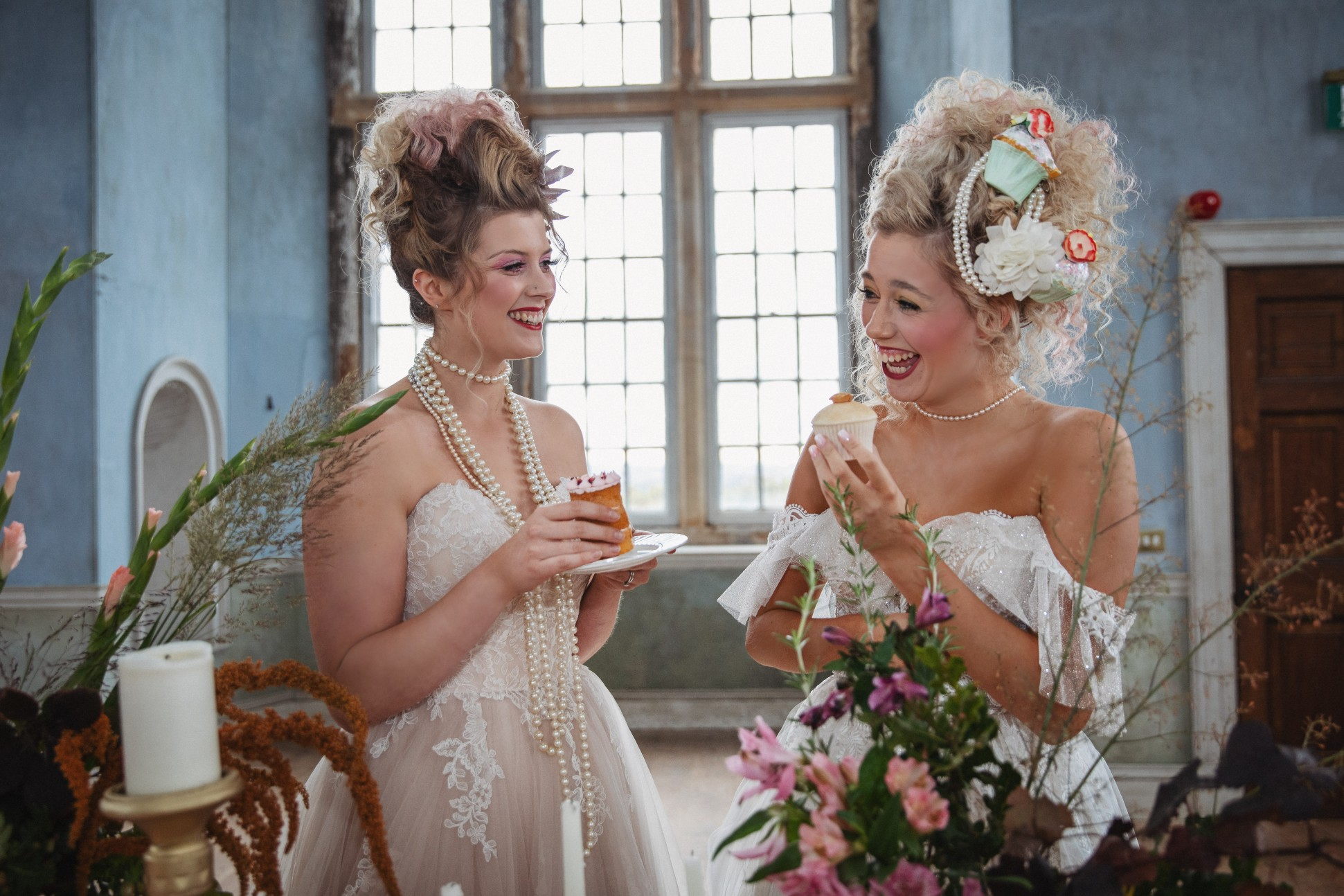 unique pastel wedding - marie antionette wedding - unique bridal look - unique bridal style - themed wedding - brides eating cake - wedding dessert table