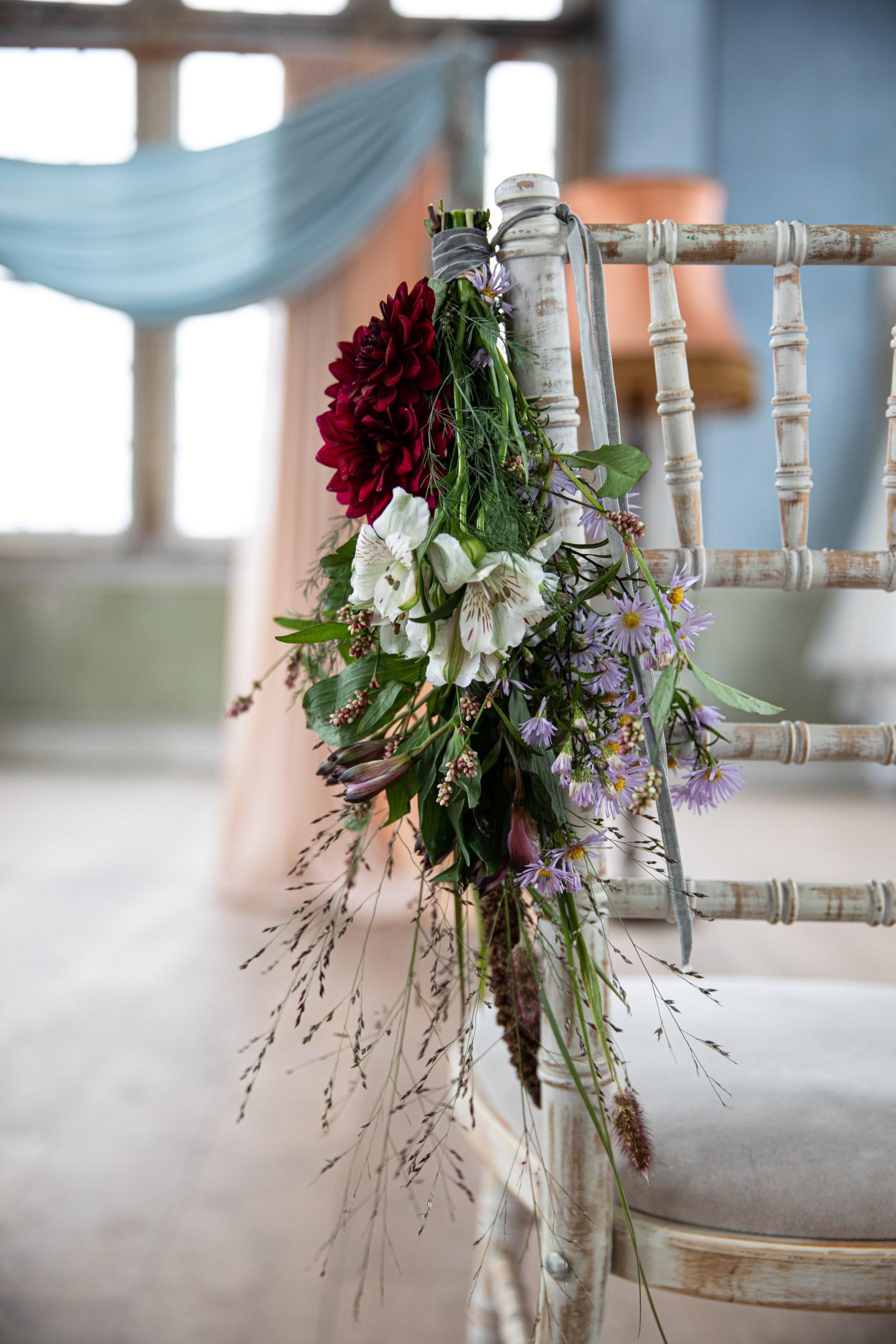 wedding flowers on chair - vintage wedding chair - vintage wedding flowers - unique wedding flowers