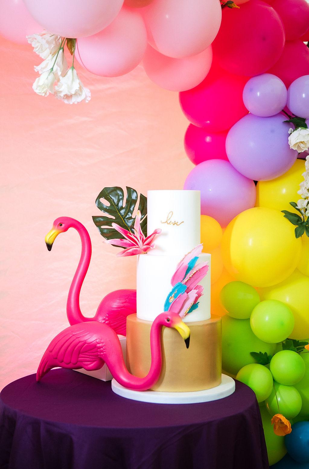 unique wedding cake - tropical wedding - flamingo wedding - rainbow wedding