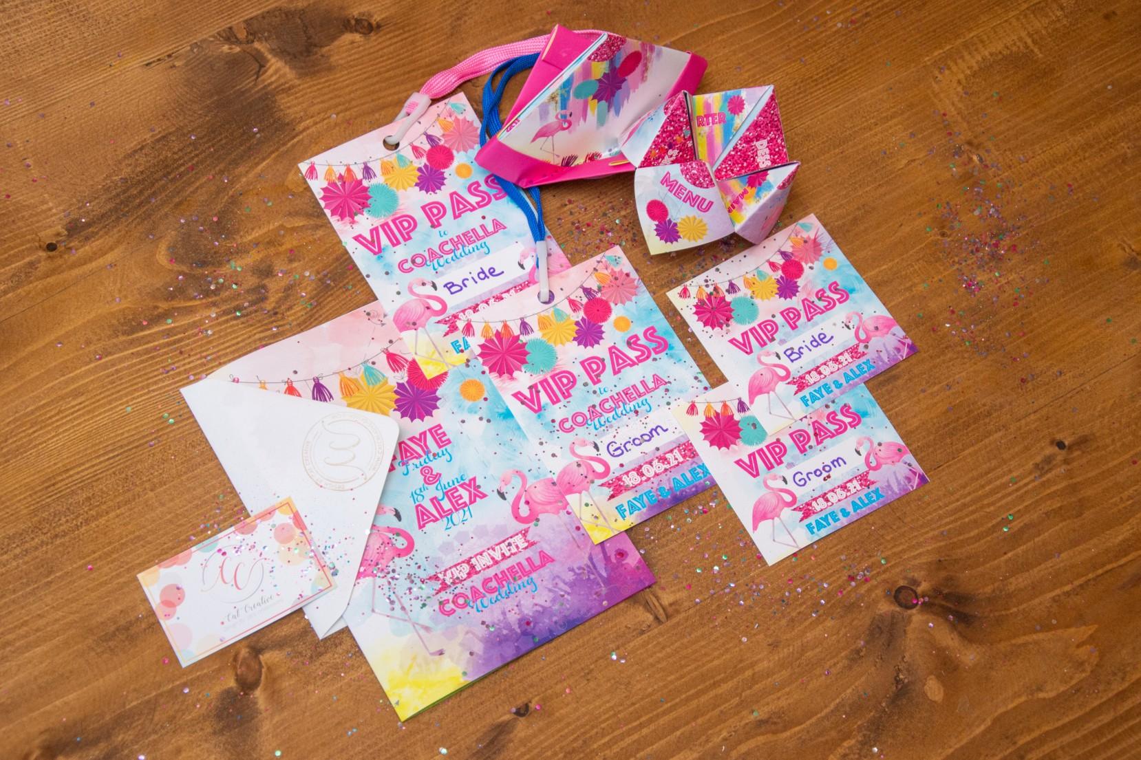 festival wedding stationery - vip pass wedding stationery - festival wedding ideas - colourful festival wedding - fun wedding stationery