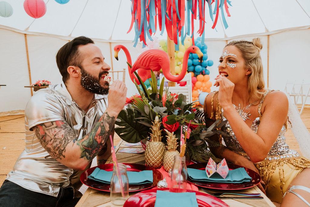sparkly festival wedding - fun wedding table - wedding cake pops - tropical wedding styling - festival wedding