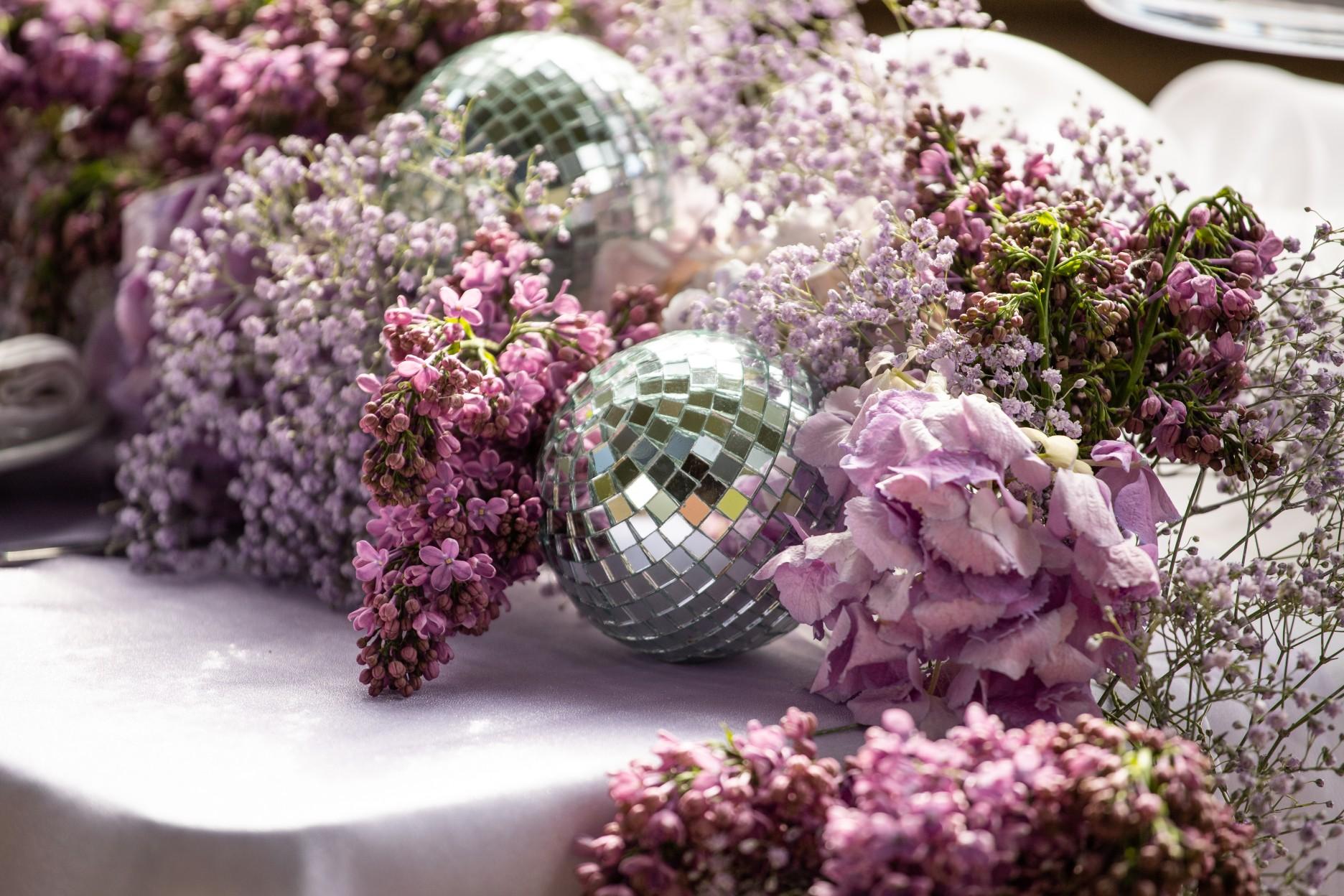 disco ball wedding decoration - unique wedding table decor - purple wedding flowers - purple wedding decor