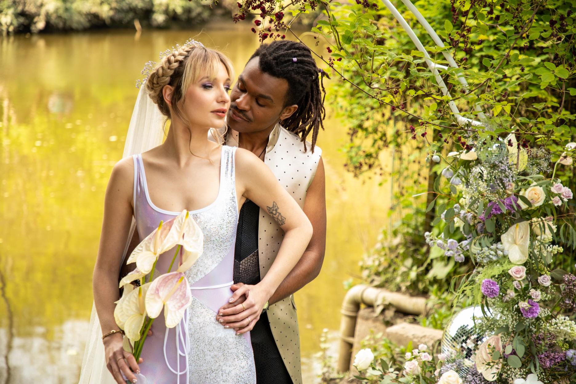 modern festival wedding - unique wedding wear - wedding jumpsuit - wedding catsuit - festival bride - unique wedding wear - outdoor wedding ceremony - festival wedding ceremony