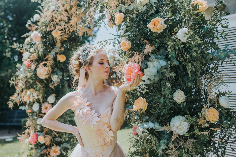bridgerton wedding - regency wedding - whimsical wedding - wedding arch - wedding floral archway - vintage wedding - fairytale wedding dress - unique bridal wear - peach wedding dress - unique wedding dress