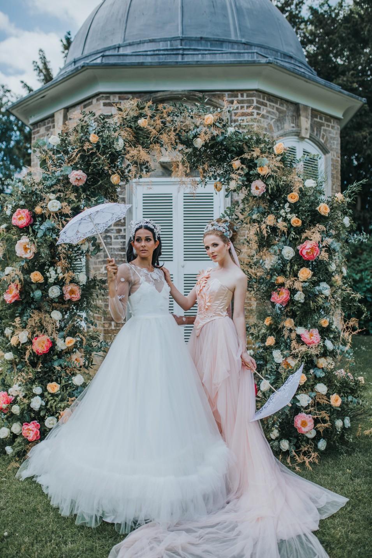 bridgerton wedding - regency wedding - whimsical wedding - wedding arch - wedding floral archway - vintage wedding - fairytale wedding dress - unique bridal wear - peach wedding dress