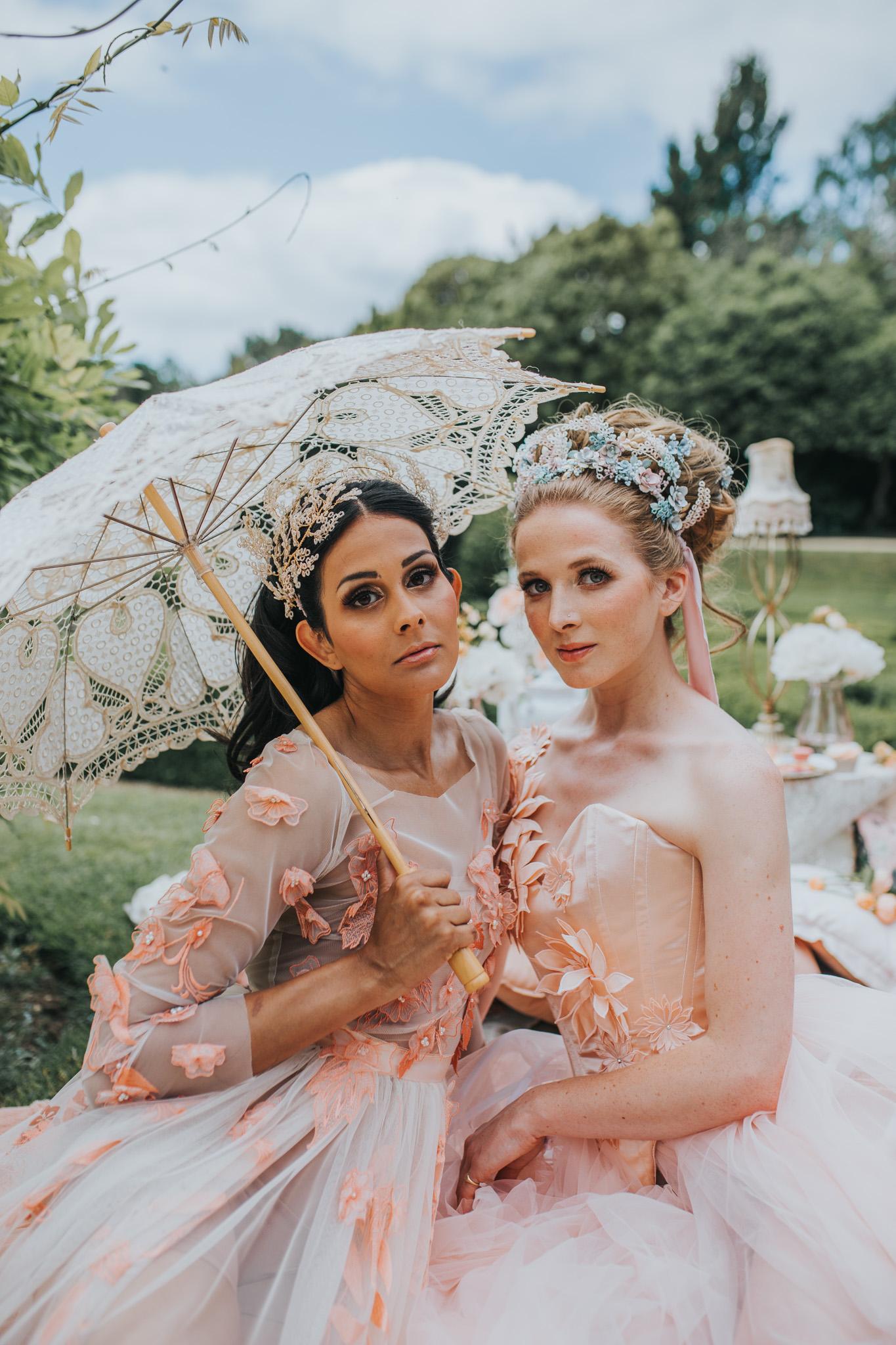 bridgerton wedding - whimsical wedding - pink wedding dress - vintage wedding - unique bridal wear - unique bridal accessories