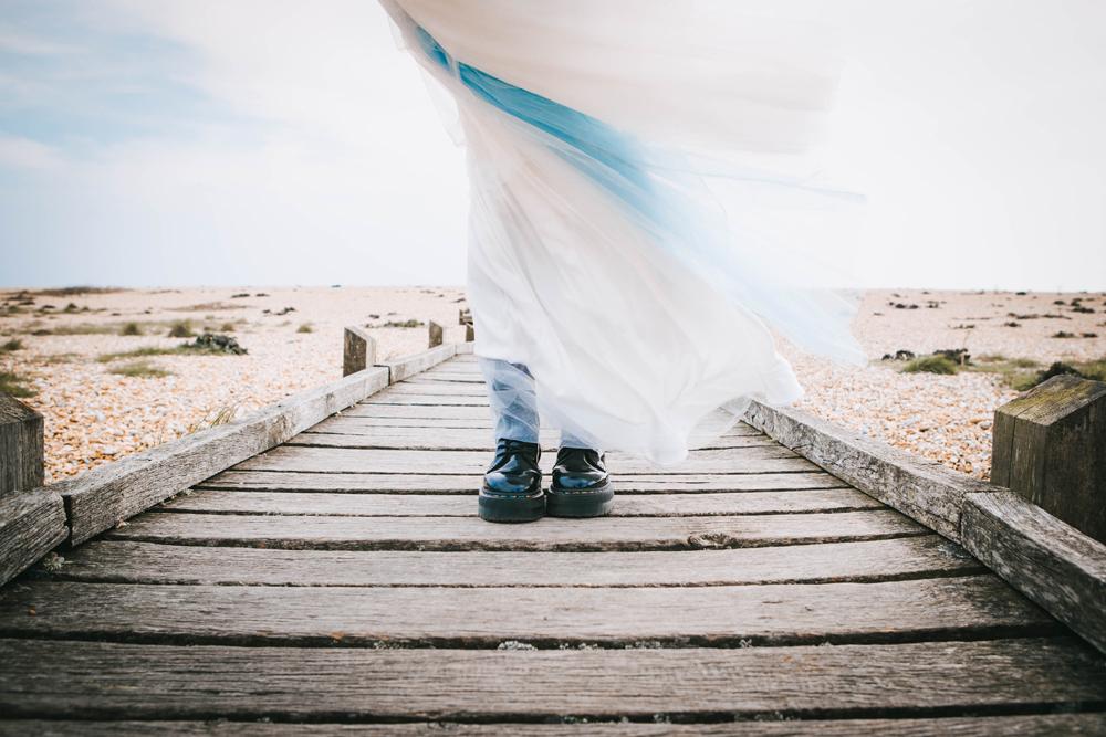 Road trip wedding inspiration - blue wedding dress - alternative wedding dress - bride in dr martens