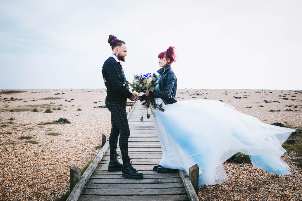 Road trip wedding inspiration - alternative wedding wear - bride and groom in leather jackets - outdoor elopement