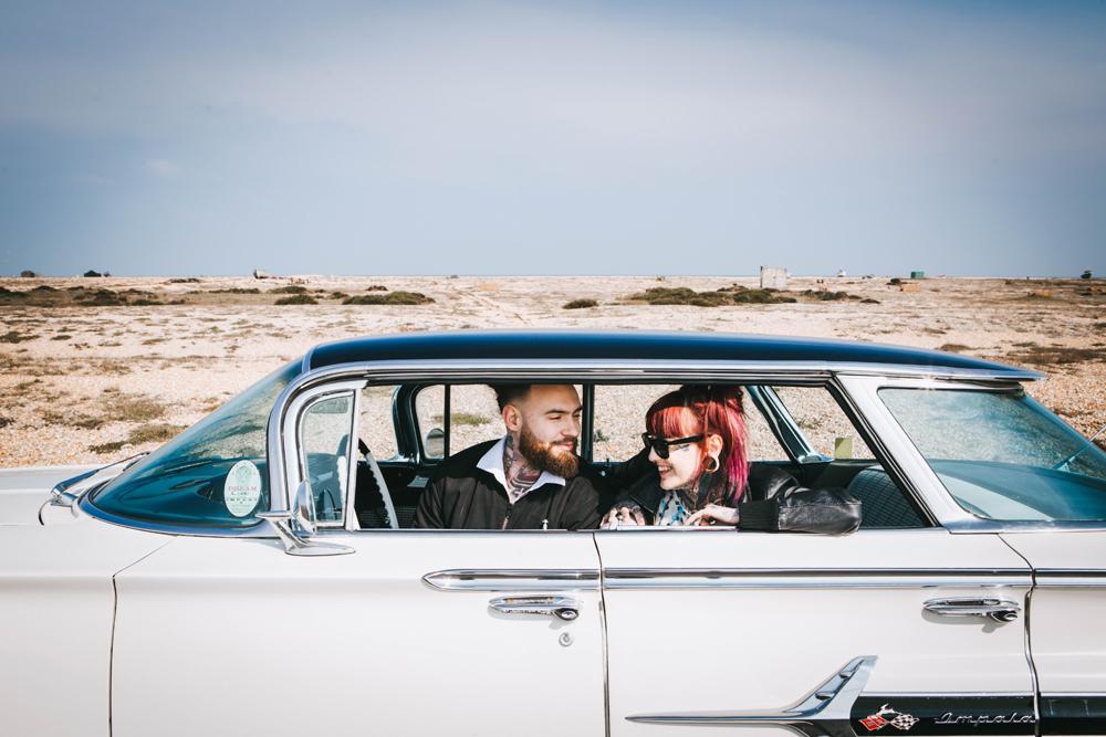 Road trip wedding inspiration - chevvy wedding car - alternative wedding photos - rock and roll wedding