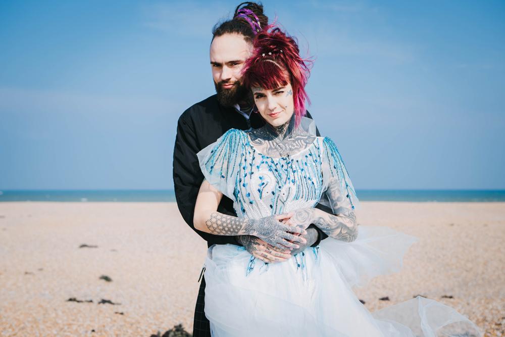 Road trip wedding inspiration - beach wedding - blue wedding dress - alternative wedding dress