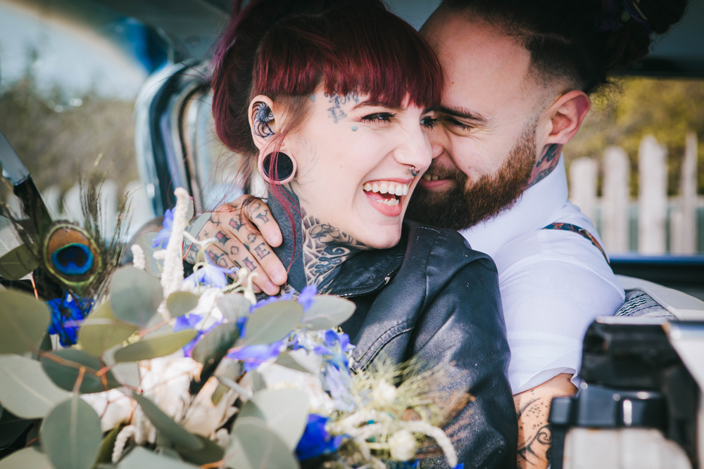 Road trip wedding inspiration - alternative bride and groom - tattooed bride in leather jacket