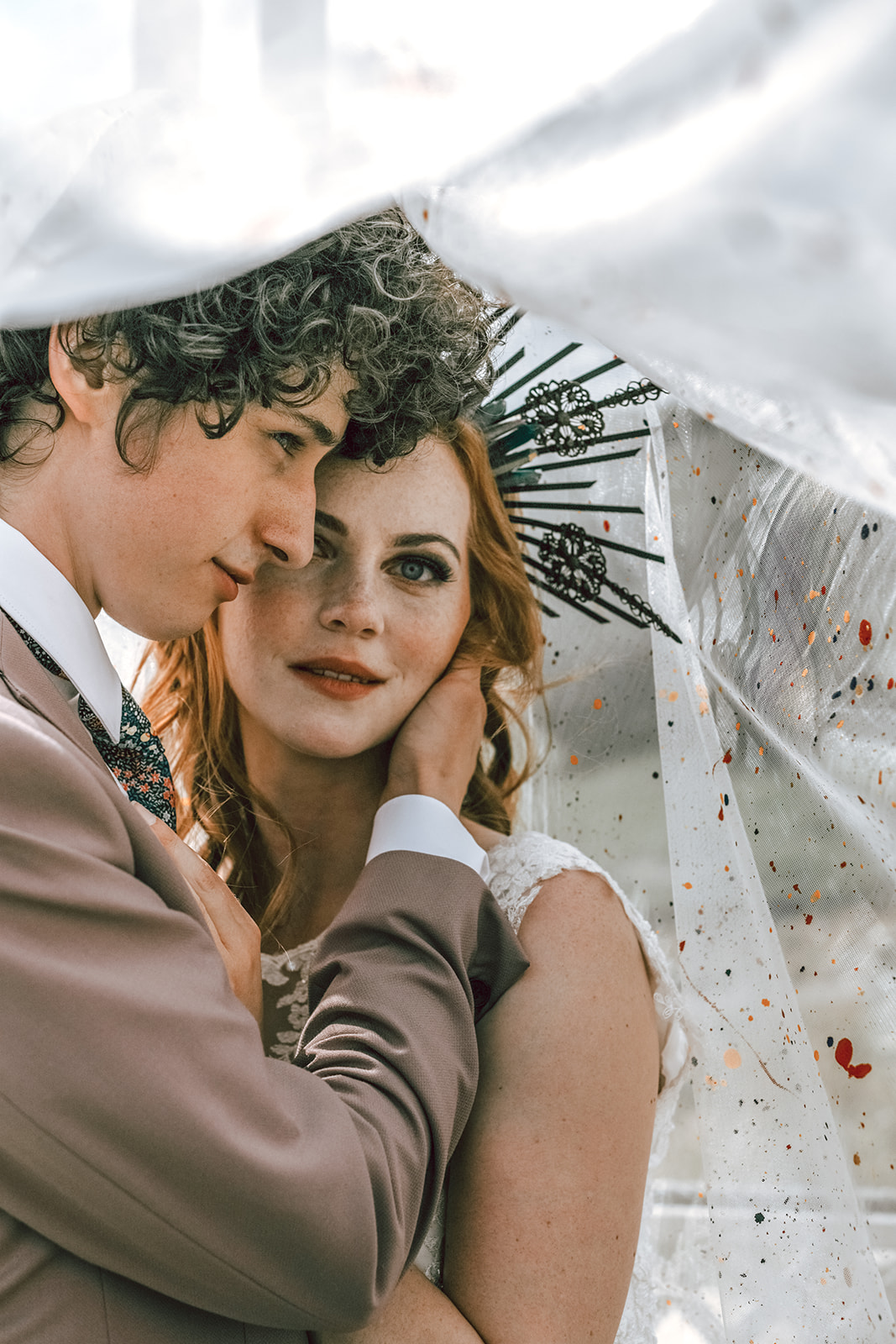 rustic festival wedding - unique wedding veil - unique bridal headpiece - unique wedding wear