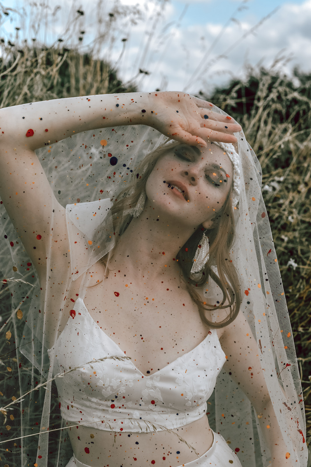 colourful wedding veil - paint splatted wedding veil - hand painted veil - alternative bridalwear - unique bridalwear - unique wedding veil
