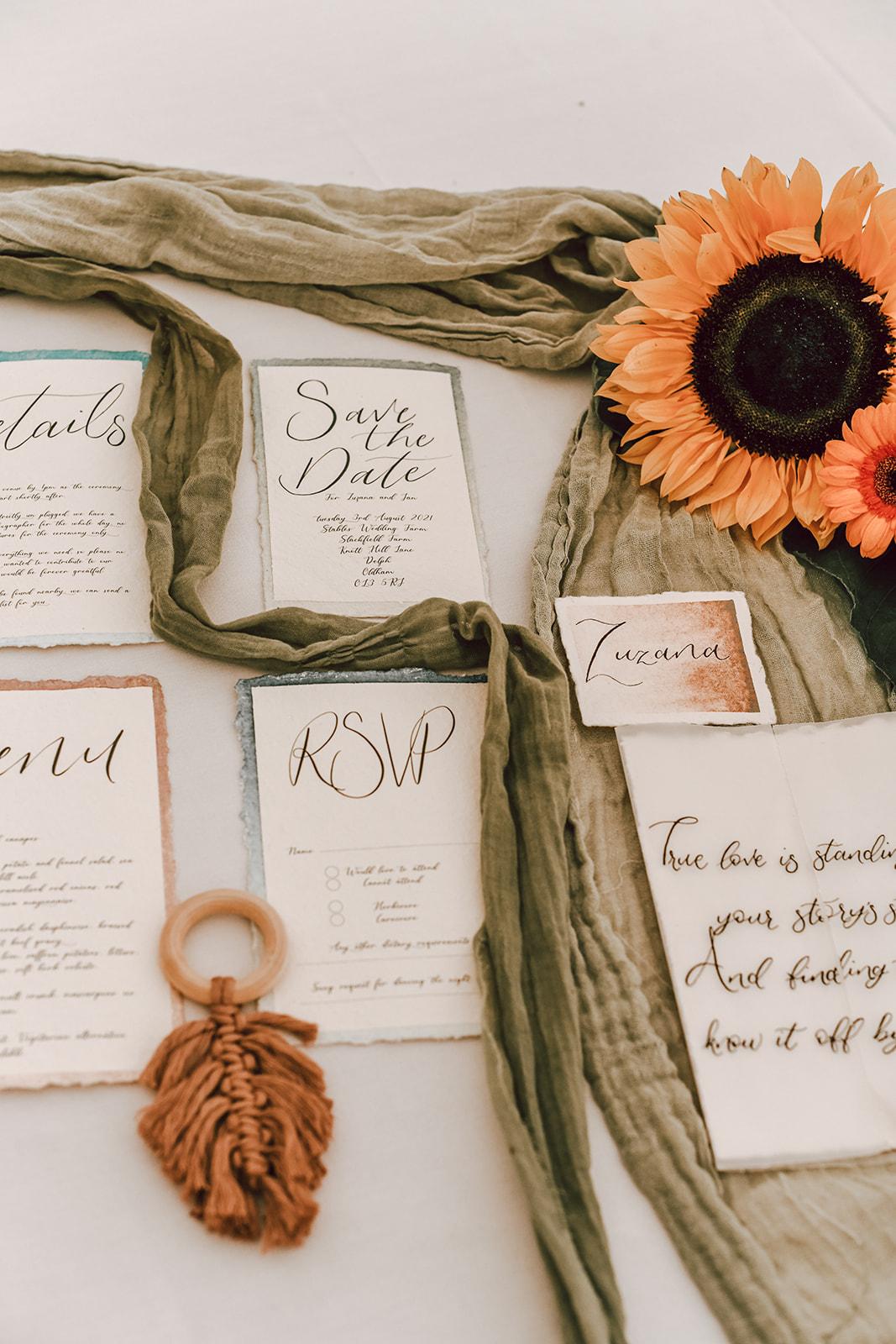 rustic festival wedding - bohemian wedding stationery - sunflower wedding - unique wedding stationery - rustic wedding stationery