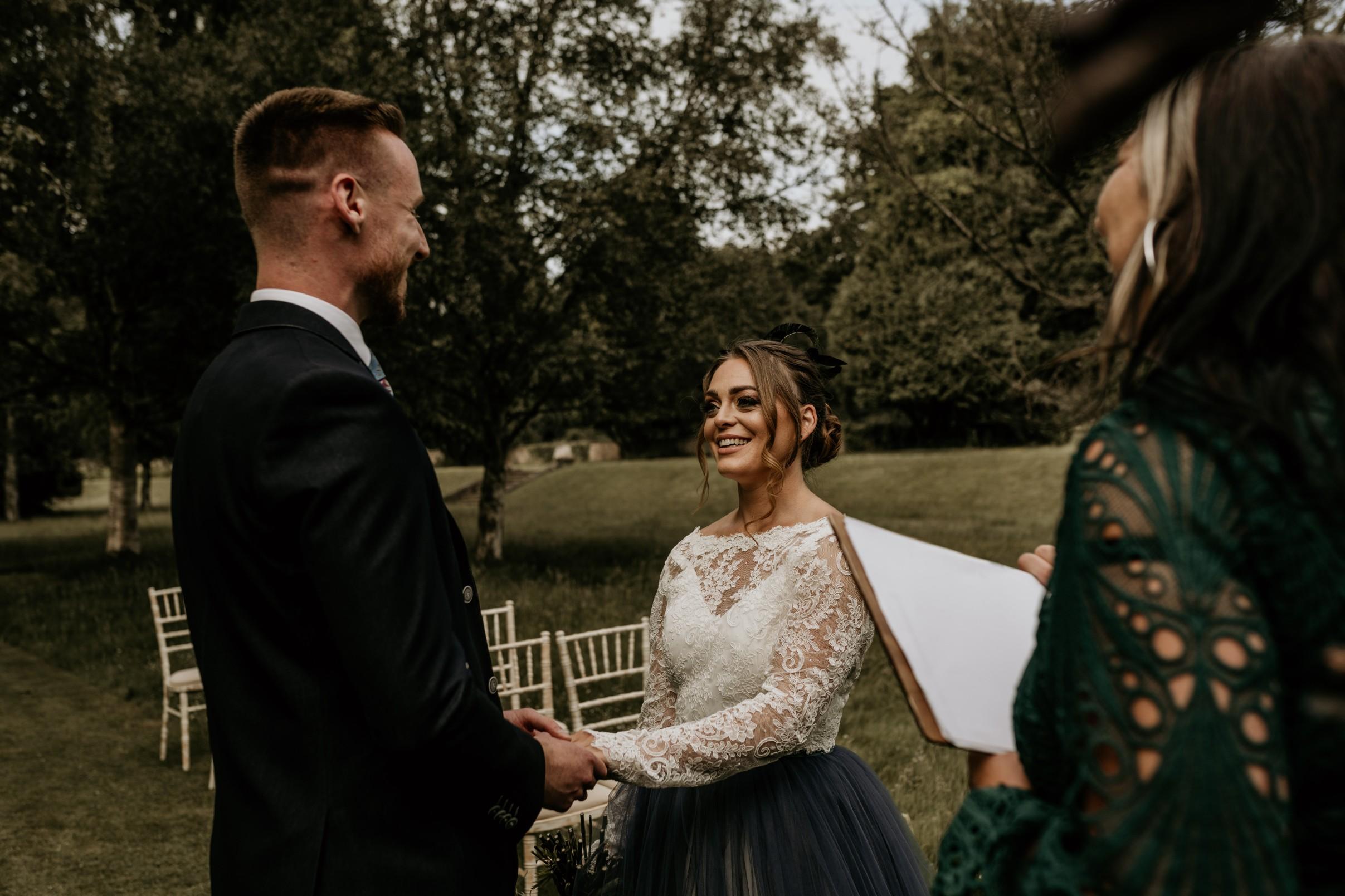 country garden wedding at newstead abbey - unique wedding ceremony - celebrant wedding ceremony - bohemian wedding ceremony - garden wedding ceremony vows