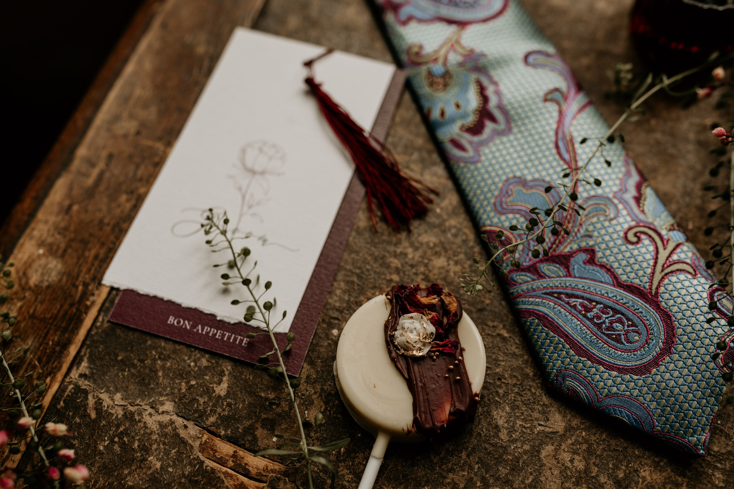 peacock wedding - paisley tie - autumn wedding inspiration
