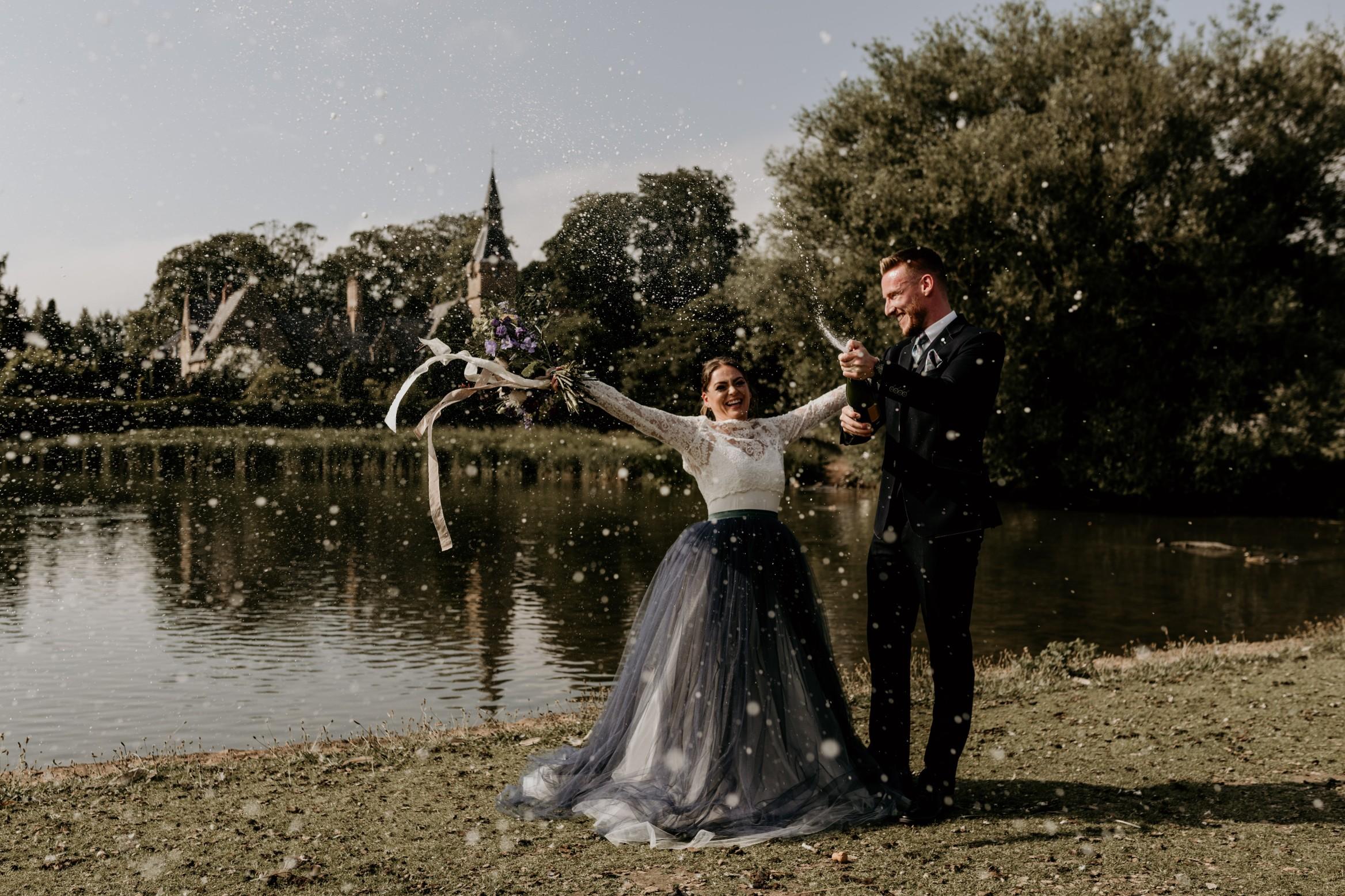 country garden wedding at newstead abbey - wedding champagne photo - unconventional wedding