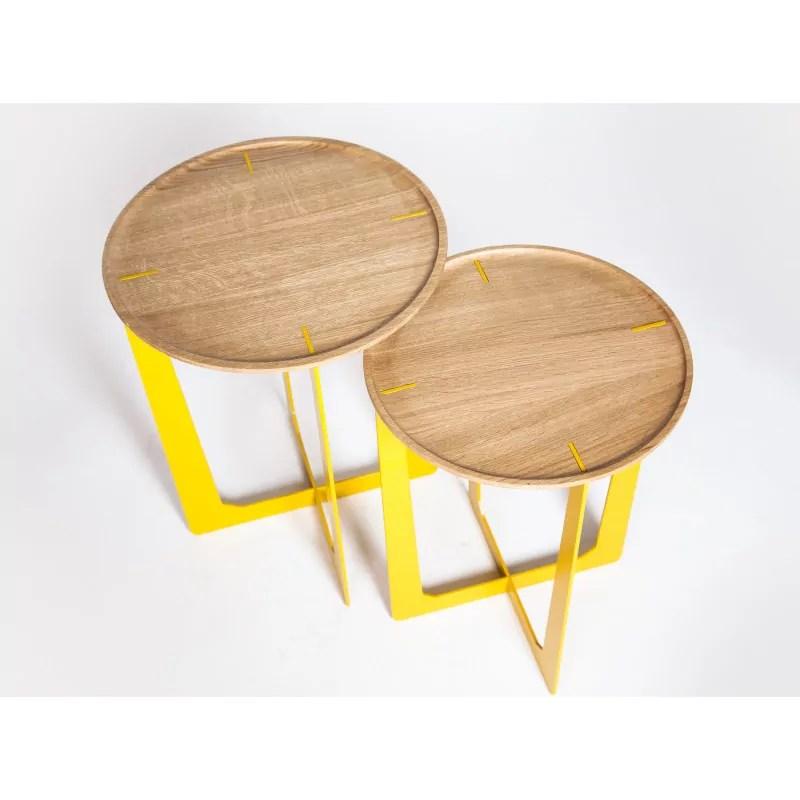 table d appoint chene et metal disponible en 3 coloris