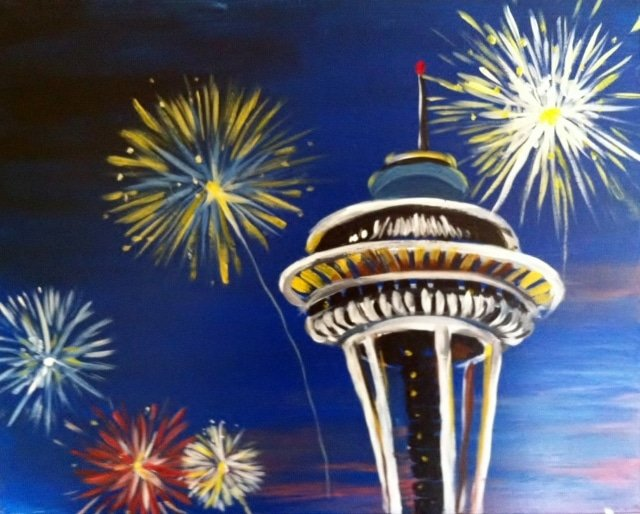Space Needle with Fireworks