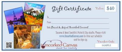 Sample $40 Gift Certificate for One Adult Paint and Sip Event