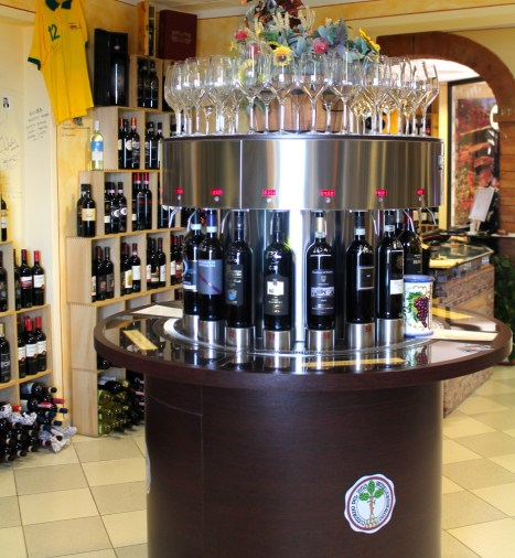 Unique wine dispensers pour and preserve the Brunellos.