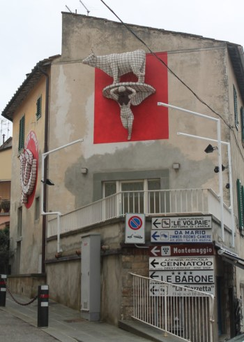 Look for Dario's trademark bull and the psychodelic cow in centro Panzano