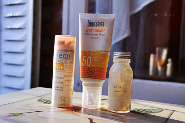 crèmes solaires véganes et naturelles