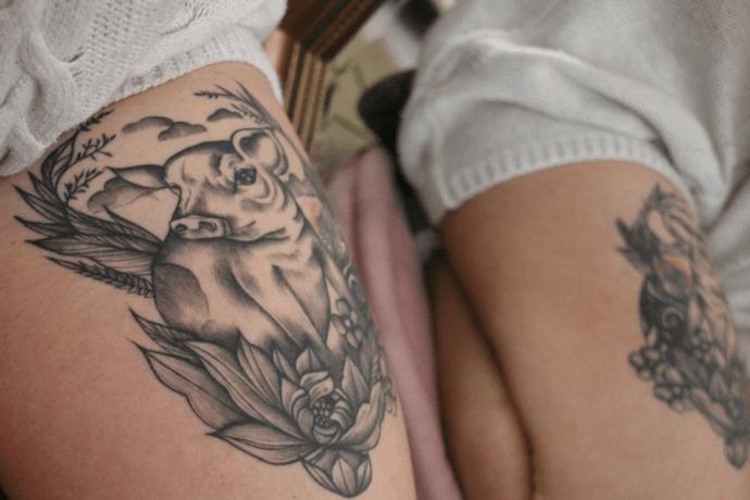 Tatouage de cochon végane