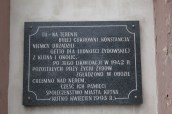 Wall plaque at the site of the Kutno ghetto