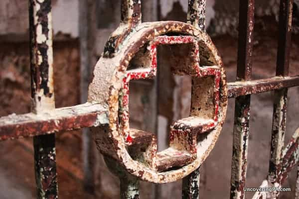 A medical cross on the entrance to the prison hospital at Eastern State Penitentiary in Philadelphia.