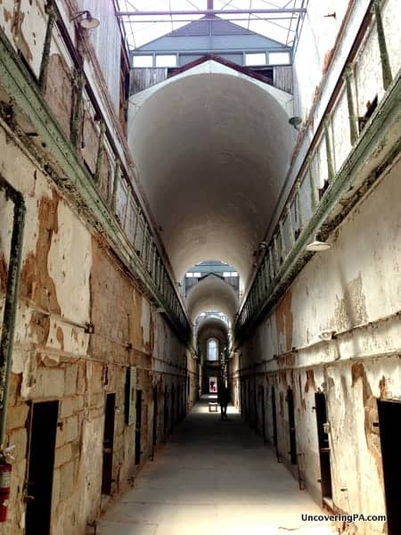 An imposing corridor at Eastern State Penitentiary.