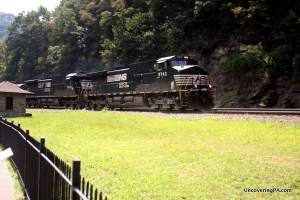 A freight train travels through the famous Horseshoe Curve in Altoona, Pennsylvania.