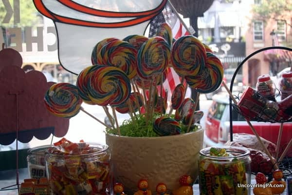 A lollipop display in a candy store in downtown Stroudsburg, Pennsylvania.