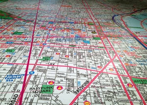 This neighborhood map of Philadelphia takes up the floor of an entire room at the Philadelphia History Museum.