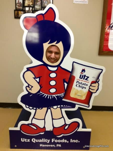 Posing as the Utz girl at the Utz Factory Tour in Hanover.