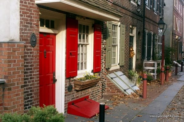 The beautiful houses along Elfreth's Alley in Philadelphia, Pennsylvania.